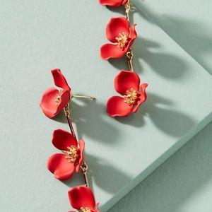 Anthropologie Red Fower Petal Earrings NWT